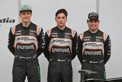 Sergio Perez, Sahara Force India F1, Alfonso Celis Jr., Sahara Force India F1, und Nico Hülkenberg, Sahara Force India F1