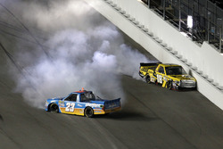 Crash: Spencer Gallagher, GMS Racing Chevrotel and Cody Coughlin, Kyle Busch Motorsports Toyota
