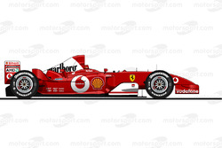 La Ferrari F2003GA pilotée par Michael Schumacher en 2003<br/> Reproduction interdite, exclusivité M