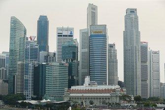 The Singapore Skyline surrounding the track