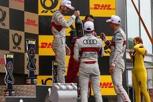Podium: Le vainqueur René Rast, Audi Sport Team Rosberg, le deuxième Nico Müller, Audi Sport Team Abt Sportsline, le troisième Robin Frijns, Audi Sport Team Abt Sportsline