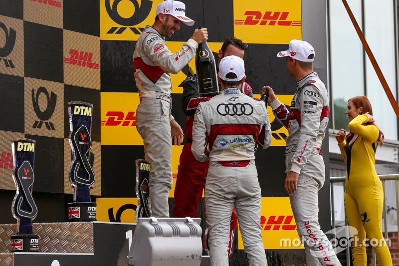 Podium: winnaar René Rast, Audi Sport Team Rosberg, tweede Nico Müller, Audi Sport Team Abt Sportsline, derde Robin Frijns, Audi Sport Team Abt Sportsline