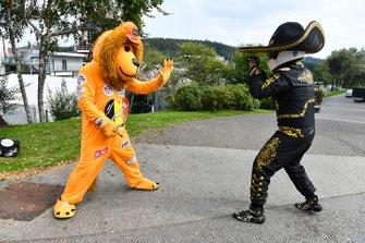 Mario Achi and a Red Bull Honda Max Verstappen, Red Bull Racing mascot bear