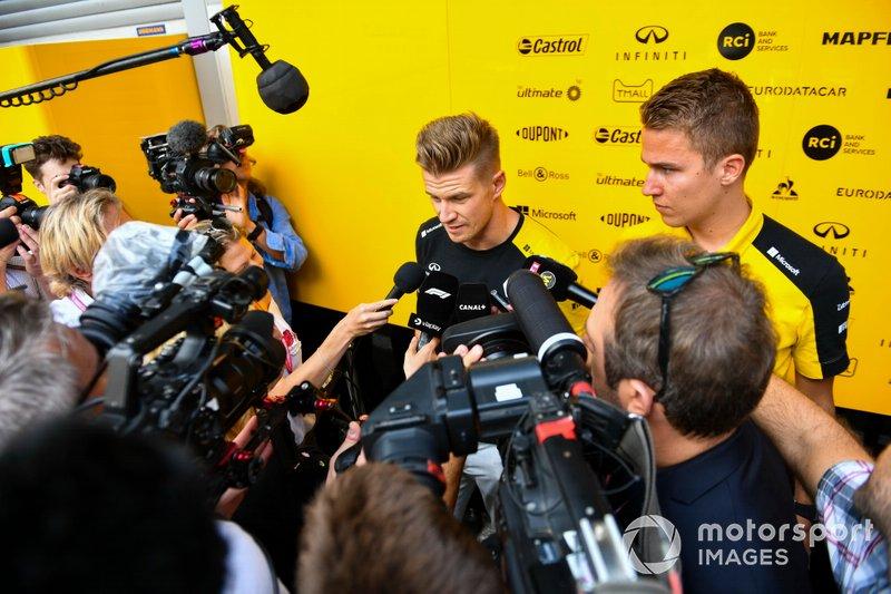 Nico Hulkenberg, Renault F1 Team, speaks to the media