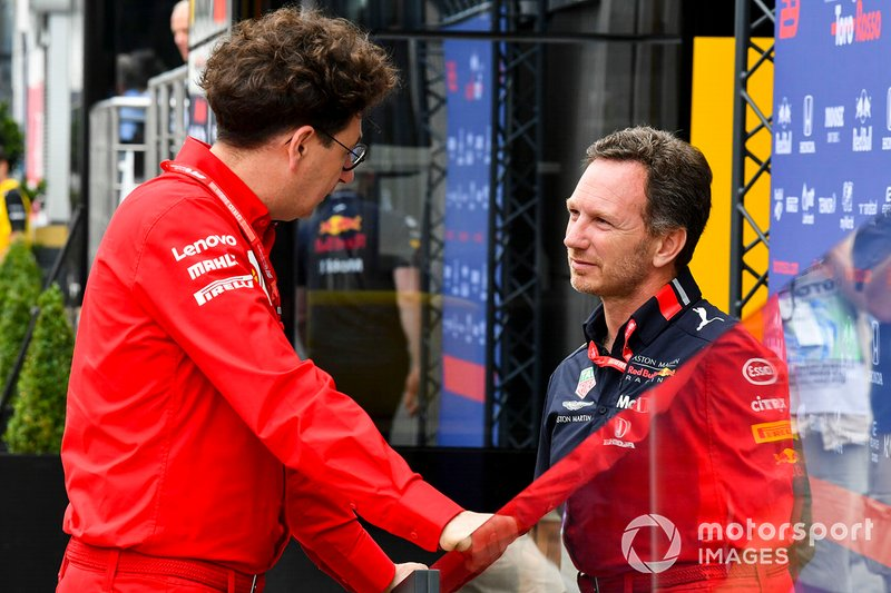 Christian Horner, Team Principal, Red Bull Racing and Mattia Binotto, Team Principal Ferrari