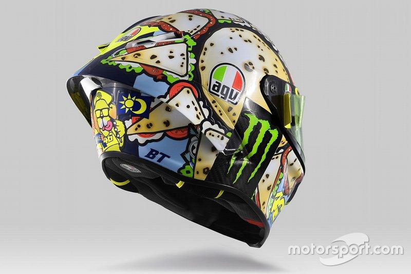 El casco de Valentino Rossi, Yamaha Factory Racing, para Misano