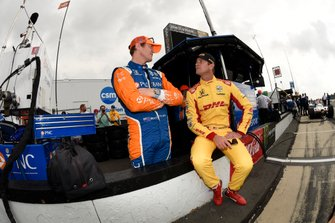 Scott Dixon, Chip Ganassi Racing Honda and Ryan Hunter-Reay, Andretti Autosport Honda