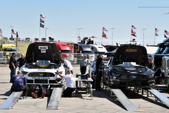 B.J. McLeod, Petty Ware Racing, Ford Mustang JACOB COMPANIES and J.J. Yeley, Rick Ware Racing, Chevrolet Camaro AQRE.app