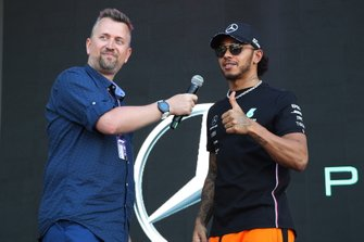 Lewis Hamilton, Mercedes AMG F1 on stage in the Fan Zone