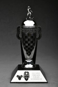 Baby Borg-Warner Simon Pagenaud Trophy with the dog Norman