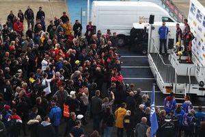 Podio Gara 1 a Silverstone, Chris Smiley, BTC Norlin Honda Civic , Tom Ingram, Speedworks Motorsport Toyota Corolla e Jason Plato, Power Maxed Racing Vauxhall