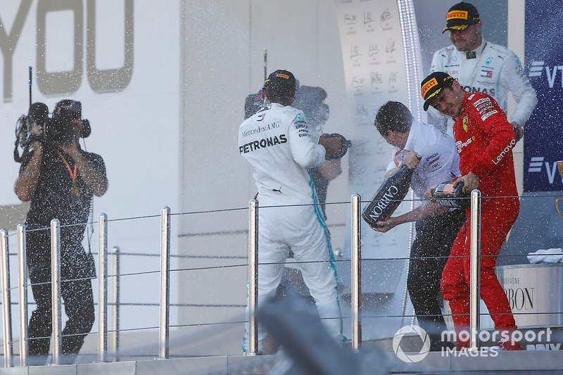 Race winner Lewis Hamilton, Mercedes AMG F1, Charles Leclerc, Ferrari SF90 and Valtteri Bottas, Mercedes AMG W10 spray champagne on the podium