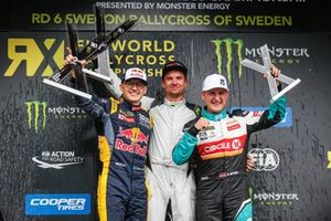 Podium: Race winner Sebastian Eriksson, Olsberg MSE, second place Kevin Hansen, Team Hansen MJP, third place Reinis Nitiss, GRX Taneco