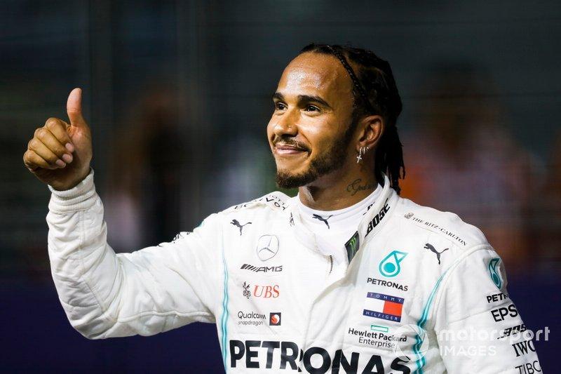 Lewis Hamilton, Mercedes AMG F1 festeggia al Parc Ferme