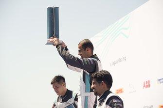 Race winner Bandar Alesayi, Saudi Racing celebrates on the podium