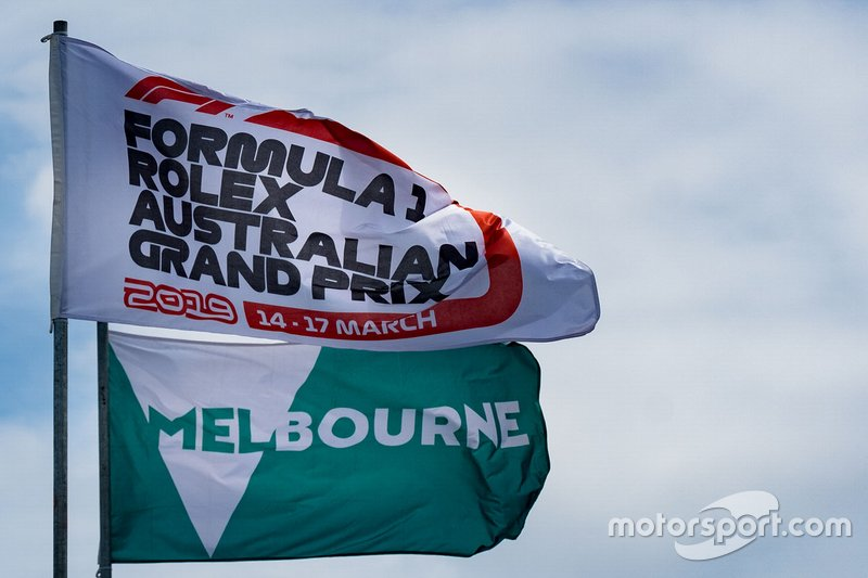 Formula 1 Australian Grand Prix and Melbourne flags