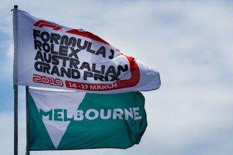 Banderas de Melbourne y del GP de Australia