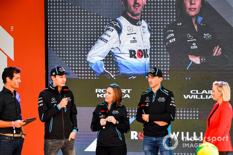 Mark Webber, George Russell, Williams, Claire Williams, Deputy Team Principal, Williams Racing and Robert Kubica, Williams Racing at the Federation Square event