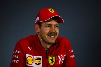 Sebastian Vettel, Ferrari, in the post Qualifying Press Conference