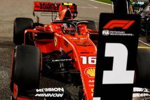 Charles Leclerc, Ferrari SF90 celebrates in Parc Ferme