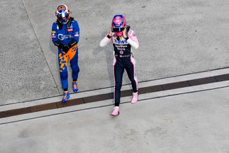 Carlos Sainz Jr., McLaren, and Lance Stroll, Racing Point, in Parc Ferme after the race