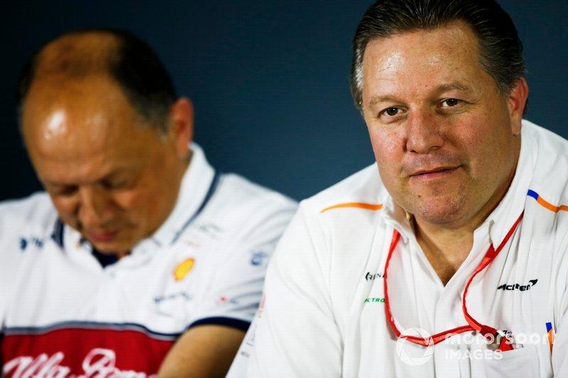 Frederic Vasseur, Team Principal, Alfa Romeo Racing, and Zak Brown, McLaren Executive Director, in the team principals Press Conference