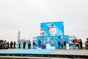 The podium ceremony with race winner Sam Bird, Envision Virgin Racing on the big screen