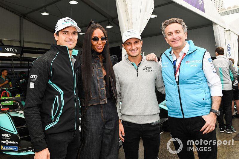 La modella Naomi Campbell incontra Alejandro Agag, CEO, Formula E, Mitch Evans, Panasonic Jaguar Racing, Jaguar I-Type 3, Nelson Piquet Jr., Panasonic Jaguar Racing, Jaguar I-Type 3