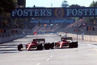 Nigel Mansell, Ferrari; Alain Prost, Ferrari