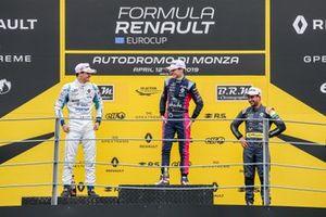 Podium: Race winner Ugo De Wilde, JD Motorsport, second place Leonardo Lorandi, JD Motorsport, third place Kush Maini, M2 Competition