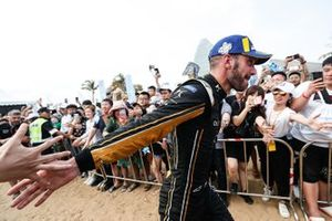 Jean-Eric Vergne, DS TECHEETAH, makes his way to the podium