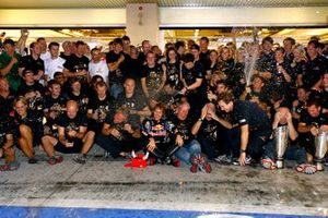 The Red Bull team celebrate winning the Drivers and Constructors world championships