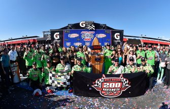 Kyle Busch, Joe Gibbs Racing, Toyota Camry Interstate Batteries celebrates his win