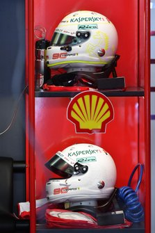 The helmets of Sebastian Vettel, Ferrari