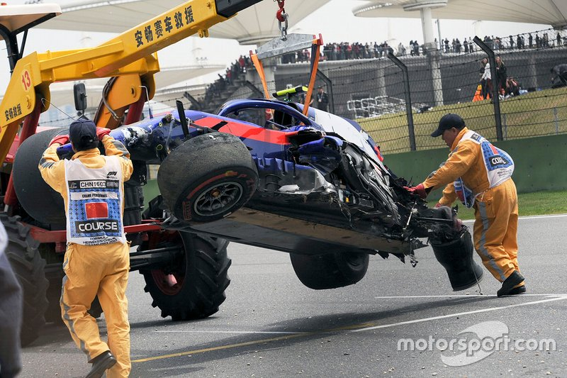 L'accident d'Alexander Albon, Toro Rosso STR14