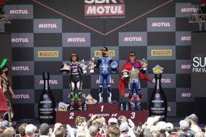Podio: Can Oncu, Kawasaki Puccetti Racing, Jules Cluzel, GMT94 Yamaha, Dominique Aegerter, Ten Kate Racing Yamaha