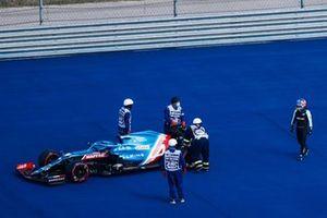 Fernando Alonso, Alpine A521, si ferma in FP1