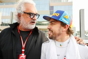 Fernando Alonso, McLaren, with Flavio Briatore on the grid