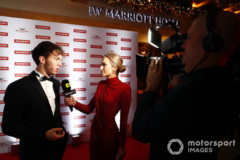 Pierre Gasly being interviewed on the red carpet