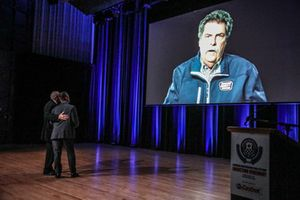 Mike Helton NASCAR congratulates D.J. Kennington
