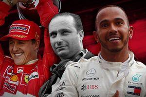 Illustration Schumacher, Fangio et Hamilton
