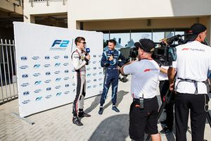 George Russell, ART Grand Prix, Alexander Albon, DAMS are interviewed