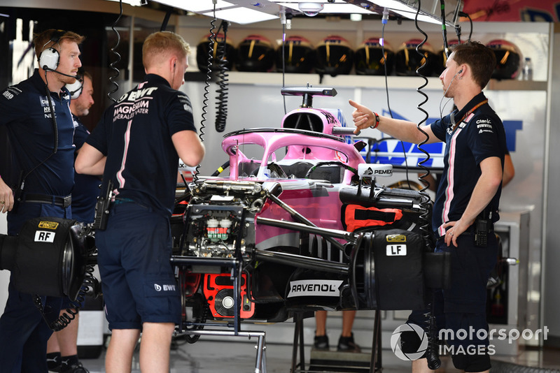Racing Point Force India VJM11 in the garage