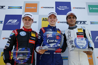 Rookie Podium: Winner Robert Shwartzman, PREMA Theodore Racing Dallara F317 - Mercedes-Benz, second place Jüri Vips, Motopark Dallara F317 - Volkswagen, third place Enaam Ahmed, Hitech Bullfrog GP Dallara F317 - Mercedes-Benz