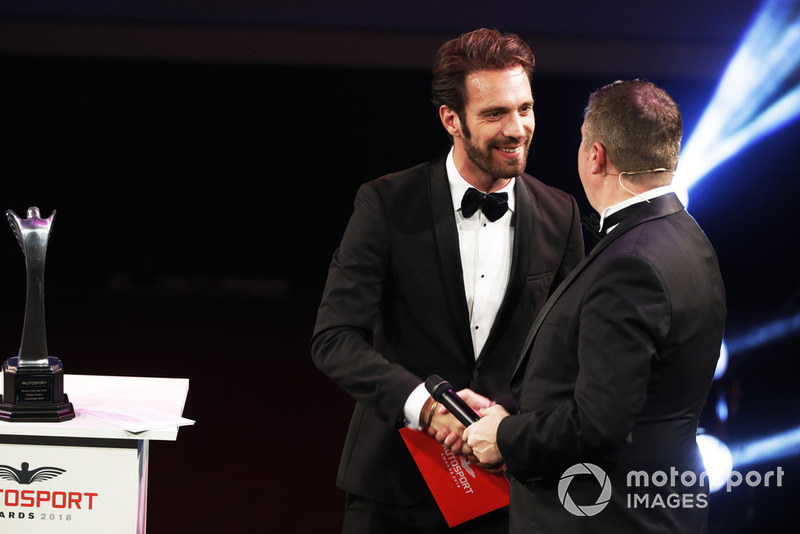 FIA Formula E Chamion Jean Eric Vergne on stage to present the Rookie of the Year award