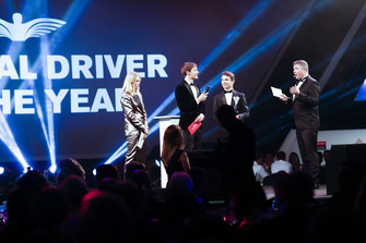 Williams F1 Driver George Russell, and McLaren F1 driver Lando Norris on stage to present the National Racing Driver Award