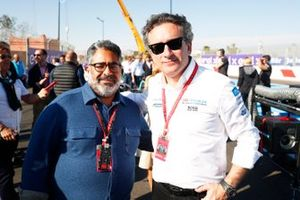 Alejandro Agag, CEO, Formula E, on the grid with a guest
