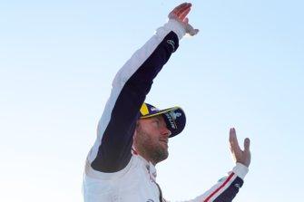 Sam Bird, Envision Virgin Racing, celebrates on the podium