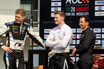 Johan Kristoffersson, Josef Newgarden and Helio Castroneves watch the action