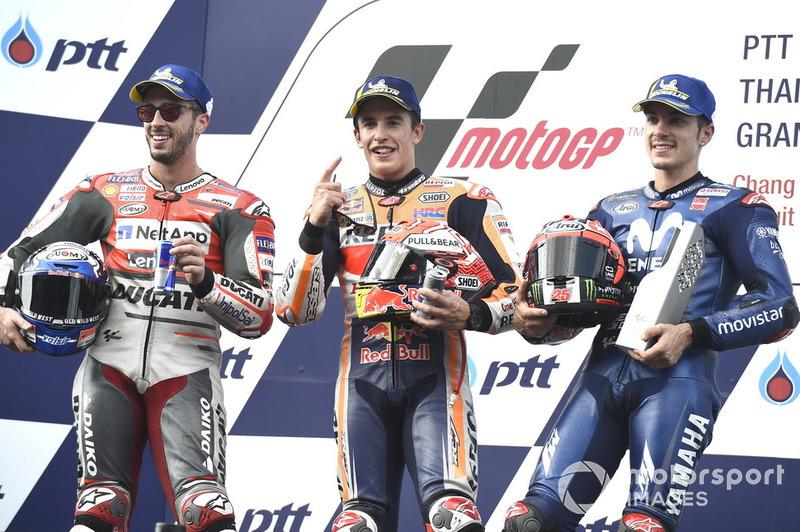 Le podium du GP de Thaïlande 2018 : 1er Marc Márquez, 2e Andrea Dovizioso, 3e Maverick Viñales